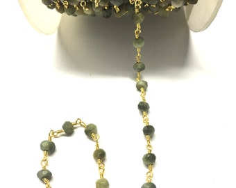 Cat's Eye Rosary Metal Chain, Agate Stone Metal Chain, Wire Wrapped Metal Chain, Rosary Metal Chain, Gold Plated Rosary Beaded C