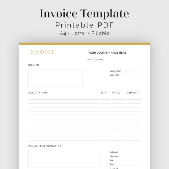 invoice template fillable pdf