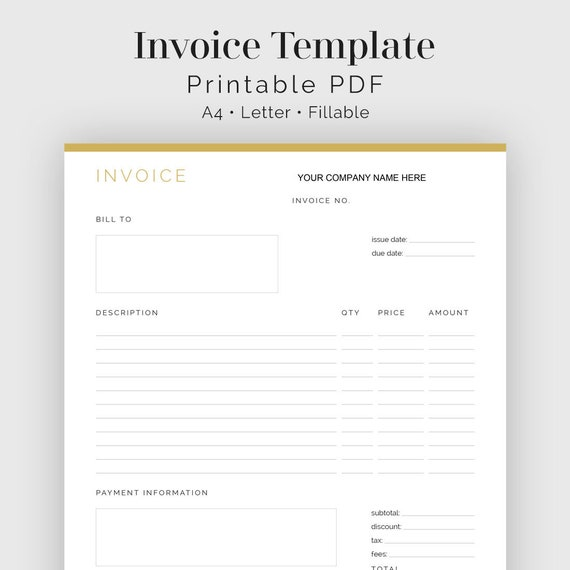 invoice template fillable business planner finance