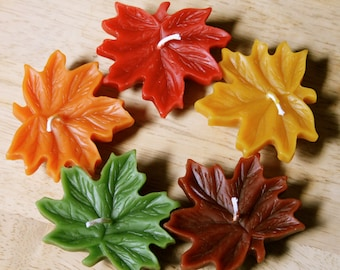 Festive Floating Beeswax Leaf Candles (Set of 5)