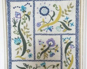Vintage 1970's Hand embroidered floral wall art. Professionally framed. Vintage embroidery sampler. Vintage framed Embroidery art.