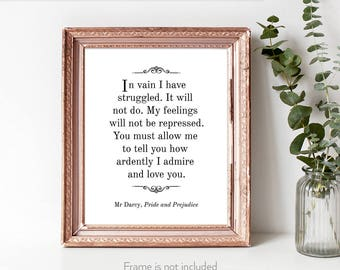 Mr Darcy marriage proposal print / Jane Austen lover gift / Jane Austen gift / Pride and Prejudice quotes /