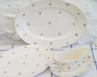 Vintage French serving plates and gravy boat, Digoin Sarreguemines