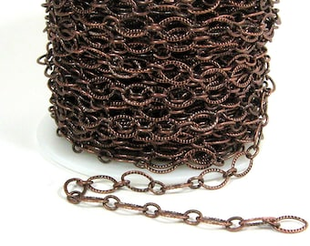 Etched Oval Chain - Antique Copper - CH21 - Choose Your Length