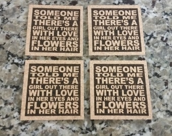 LED ZEPPELIN - Going To California Song Lyric Art - Coasters Set of 4
