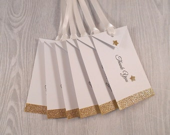 12 Thank You Gift Tags, Gold Glitter and White, Wedding Favor Hang Tags, Wine Bottle Favors, Personalized Gift Wrap