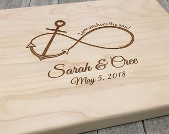 Personalized Cutting Board Anchor Wedding Gift Anniversary Gift Bridal Shower Gift Infinity Sign Anchor Nautical Decor Custom Cutting Board