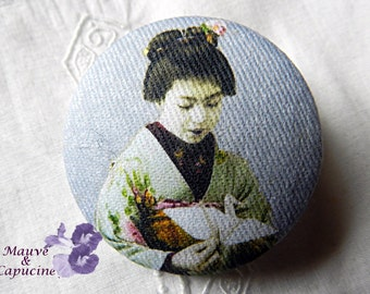 Fabric Button, Japanese Woman, 0.86 in / 22 mm