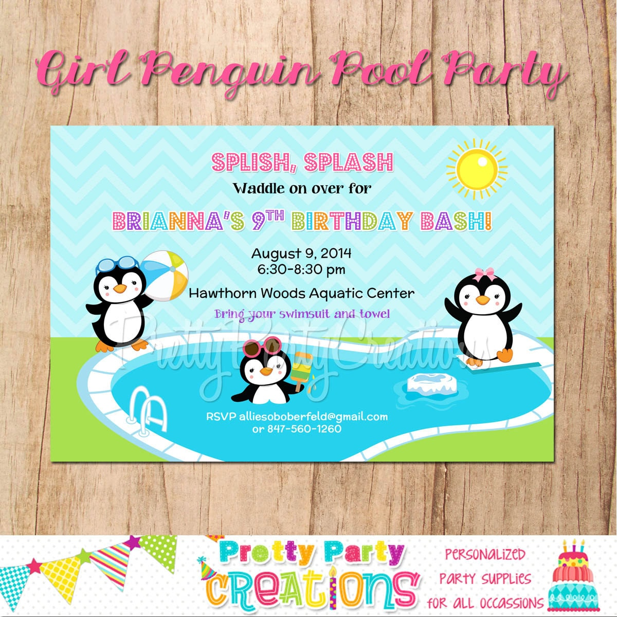 GIRL PENGUIN pool party invitation YOU Print