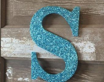"9"" Decorative Aqua Blue Glitter Wall Letters, Wedding Decoration, Girls Bedroom Decor"