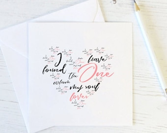 I Have Found the One Whom My Soul Loves Card Set - Valentines Card - Wedding - Anniversary - Blank Card