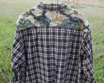 One of a kind embellished neutral color plaid flannel shirt with coordinating camo camoflauge fabric sewn on back - Size XL (#S83)