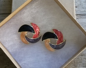 Vintage Iridescent Enamel Earrings-Retro Earrings-70's Jewelry-Free Shipping-Gift Box Included