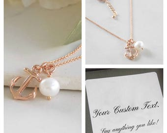 Rose Gold Anchor Necklace. Rose Gold Jewelry, Rose Gold Anchor, Best Friend Jewelry
