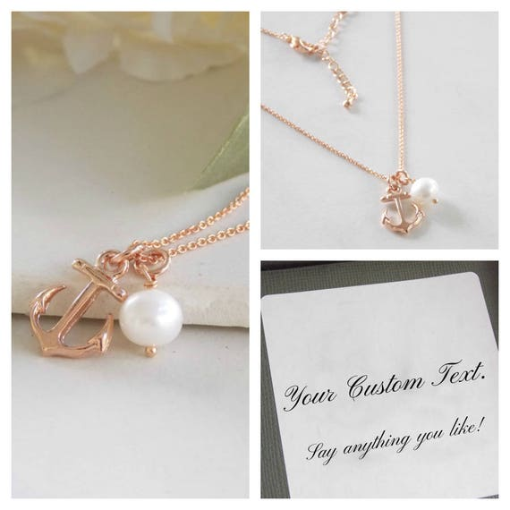 Rose Gold Anchor Necklace Rose Gold Jewelry Rose Gold