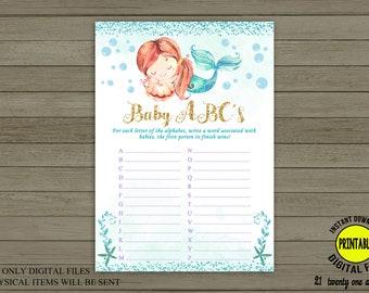 Mermaid Baby ABC's, Mermaid Baby Shower, Under the Sea Baby Shower, Baby Shower Games, Printable Game, Digital File INSTANT DOWNLOAD