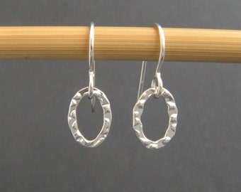 tiny oval earrings. sterling silver. small textured dangles. simple everyday earrings. drop open oval hoop earrings. gift for her 3/8""