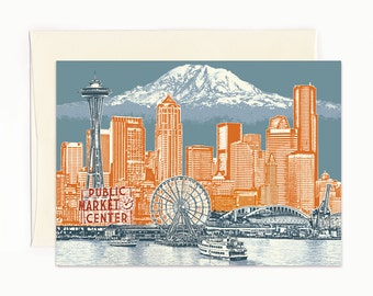 Seattle to Mt. Rainier Notecard - Seattle Washington - full color - folded Greeting Card - Single or Set of 6