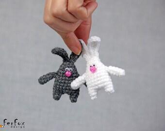 Bunny Brooch, rabbit pin, crochet pin, animal brooch, children jewelry, funny brooch, animal pin