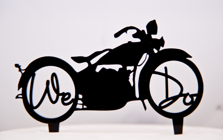 We Do Harley Davidson Motorcycle wedding cake topper we do