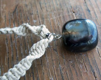 Natural Hemp with Black Marble Pendant