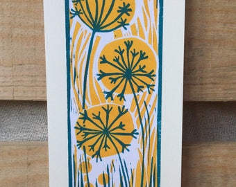 Lino print greetings card