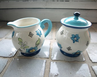 Grace's Teaware Hand Painted Blue and White Creamer and Covered Sugar Bowl