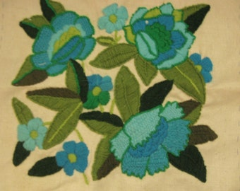 EXQUISITE Hand-worked Crewel Embroidery Pauline Denham Floral Design, Turquoise & Green - Perfect for Framing or Make a Pillow!!