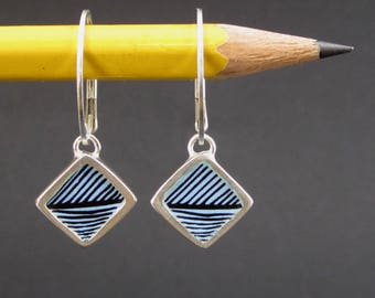 Reversible Enamel and Sterling Earrings in Sky Blue and Black