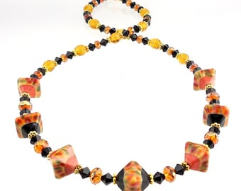 Black and Orange Beaded Crystal Lampwork Necklace, Lampwork Necklace, Lampwork Jewelry, Dressy Necklace, Glass Bead Necklace