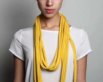 Yellow Scarf, Infinity Scarf, Long Yellow Scarf, Cotton Scarf,