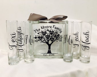 Family Blended Unity Sand Ceremony Glass Containers - Glass Block with Tree and Heart names - initials in Bark - est year- Personalized