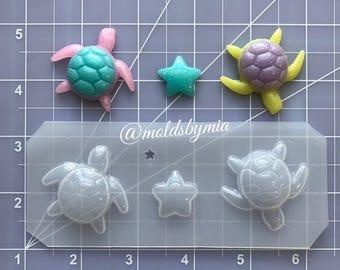 ON SALE New! Decoden Sea Turtle flexible plastic resin mold set ~ 3 pc