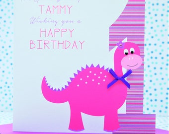 Personalised Handmade Dinosaur Girls Birthday Card 1st,2nd,3rd,4th,5th Daughter, Niece, Granddaughter