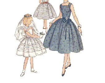 1950s Sewing Pattern Simplicity 4275 Girl's Party Tea Garden Dress Communion Flower Girl Full Circle Skirt Fitted Bodice Size 8