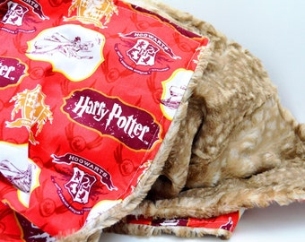 Baby/Toddler Blanket- Harry Potter Gryffindor Doe Deer Fawn Fur Blanket Featuring Cotton and Minky
