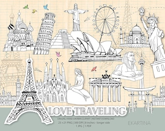 Travel doodle ClipArt,famous places Clipart,Hand drawn,wanderlust Clip art,world travel icons,Adventure digital illustration,vacation
