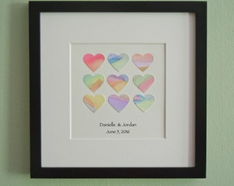 Framed Watercolor Hearts with Text - Unique Wedding Gift - Contemporary Square Art - Engagement Gift - Square Frame - Watercolor Collage