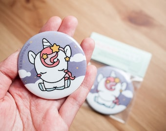 Cute Unicorn with Pink Hair Round Pocket Mirror - Puple and Pink Unicorn Mirror