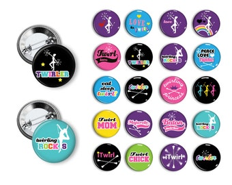 Baton Twirl  Pin Back Button Party Favors  1.25 inch Buttons Student Reward Pins buttons badges magnets