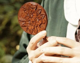 TE-KAGAMI -sakura- with your initial, hand mirror, wood Handmade, order made, made in japan