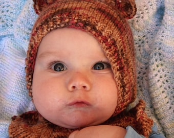 Newborn baby teddybear hat, warm baby hat, baby teddy bear costume, 0-6 month knitted winter hat