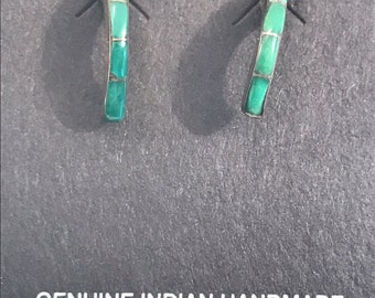 Vtg New Old Stock Gradiated Inlaid Sterling Earrings