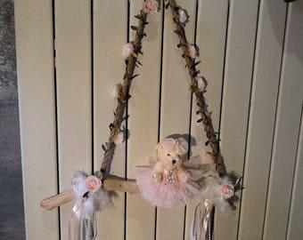 Driftwood with Teddy bear dancer swing style light shabby + guirlance
