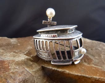 Tortolani Market Street Trolley Vintage Pewter Figural Pin   San Francisco Cable Car Mid Century Brooch with Faux Pearls   Book Piece