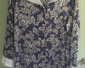 80s blue and white paisley and polka dot silky oversized tunic robe button up dress