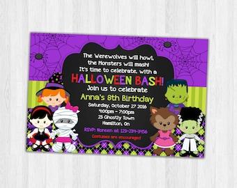 Halloween Birthday Invitations, Party Invitations, Halloween Birthday Party Invitation Printable Invites