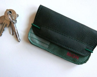 Wallet of green leather in convenient size