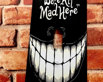 Disney Cheshire Cat We're All Mad Here Alice in Wonderland light switch cover plate wall home room decor