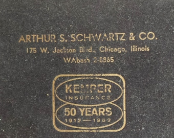 2 Decks of Playing Cards in an advertising box (Kemper Insurance 1912-1962) of Arthur S. Schwartz & Co. of 175 W. Jackson Blvd. Chicago, IL